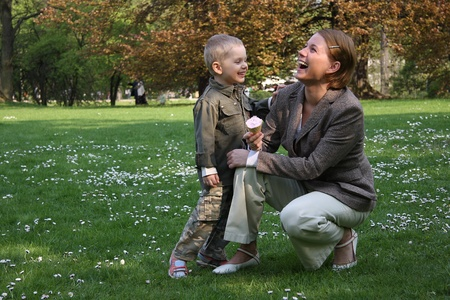 Mother and son laughing photo