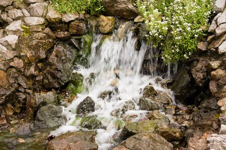 Closeup of beautiful small waterfall, wet rocks and flowers photo