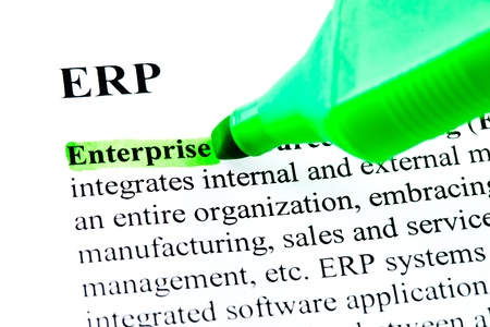 define: ERP enterprise resource planning definition highlighted by green marker