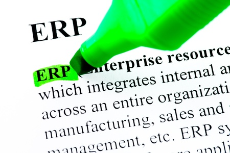 ERP enterprise resource planning definition highlighted by green marker photo