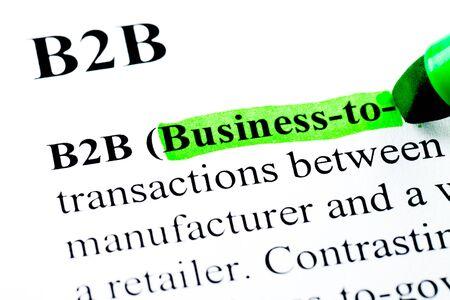 b2b: Negocios B2B con la definici�n de empresas destacadas por marcador verde