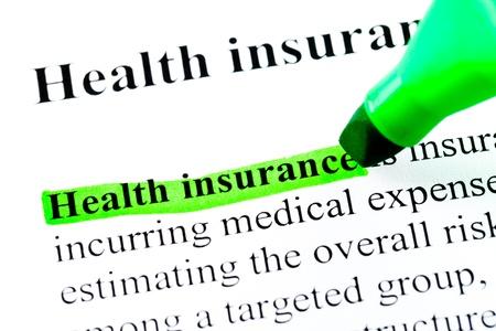 definici�n: La definici�n de seguro de salud destaca por marcador verde sobre fondo blanco