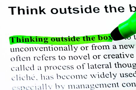 Think outside the box definition highlighted by green marker Stock Photo - 11175726