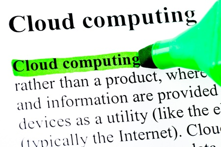 definition define: Cloud computing definition highlighted by green marker