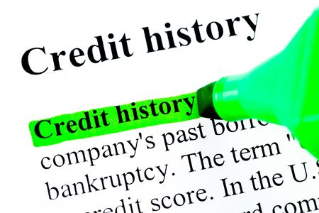 Credit history definition highlighted by green marker photo