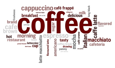 Coffee words concept in tag cloud on white background photo