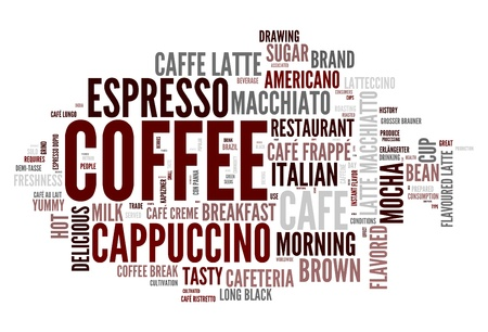 caffeine: Coffee words concept in tag cloud on white background