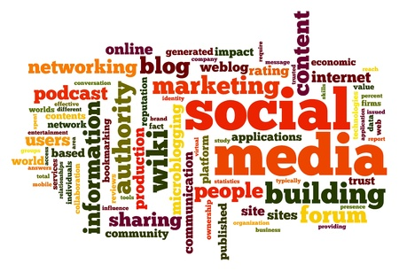 social media marketing: Social media concept in word tag cloud on white Stock Photo