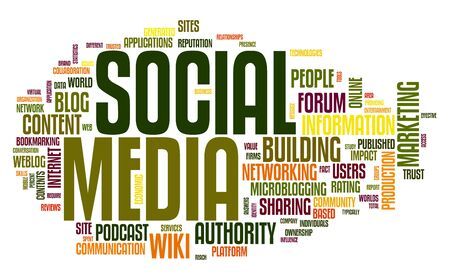 Social media concept in word tag cloud on white Stock Photo - 11175701