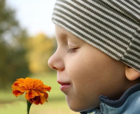 3 jaar oude jongen ruiken bloem in openlucht landschap. Focus op bloem.