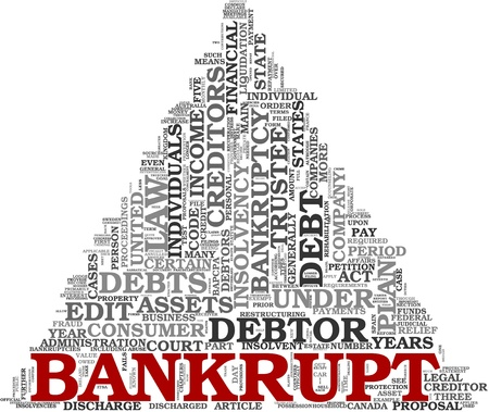 recession: Bankrupt concept in word tag cloud on white background Stock Photo