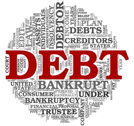bankrupt: Debt concept in word tag cloud on white background