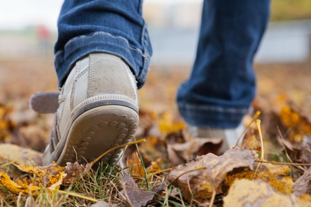 Teenager walking in sport shoes on leaves in autumn day photo