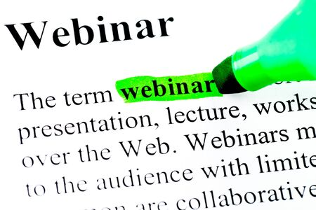 Definition of word webinar marked in green photo