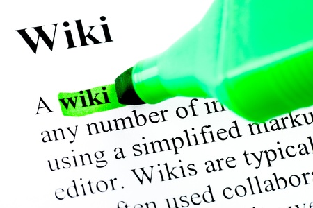 Dictionary definition of word wiki marked in green