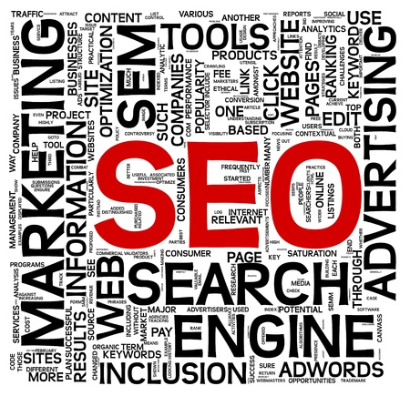 Search engine optimization SEO concept in word tag cloud on white photo