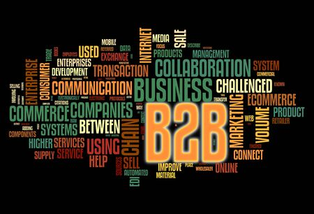 website words: B2B - business to business concept in word tag cloud isolated on black Stock Photo