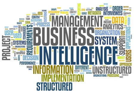 intelligence: BI - Business intelligence concept in word tag cloud isolated on white