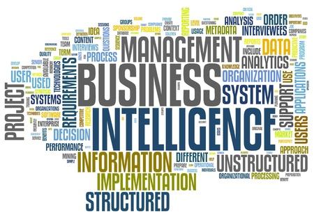 inteligencia: BI - Business Intelligence en el concepto de nube de palabra de la etiqueta aislado en blanco Foto de archivo