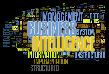 bi: BI - Business intelligence concept in word tag cloud isolated on black