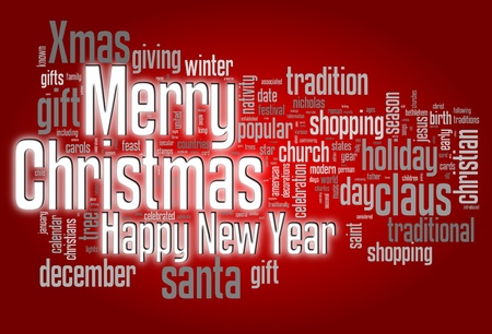 Merry Christmas conceptual card of words in tag cloud