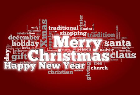 Merry Christmas conceptual card of words in tag cloud photo