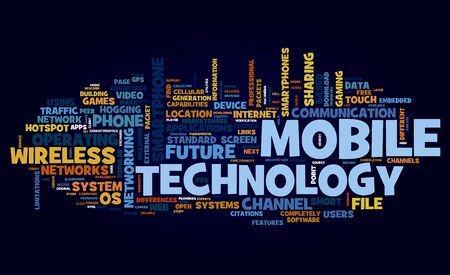 technology to communicate: Mobile technology concept in tag cloud on black