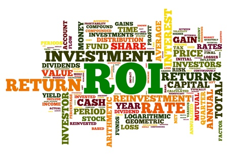 return on investment: ROI - return of invertelment concept in word tag cloud on white background Stock Photo