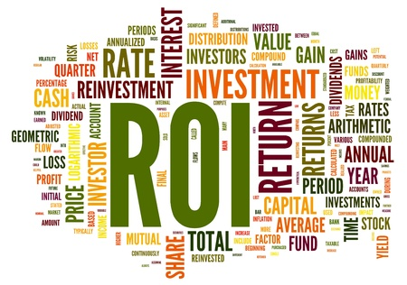 rendement: ROI - return van invertelment begrip in woord tag cloud op een witte achtergrond Stockfoto