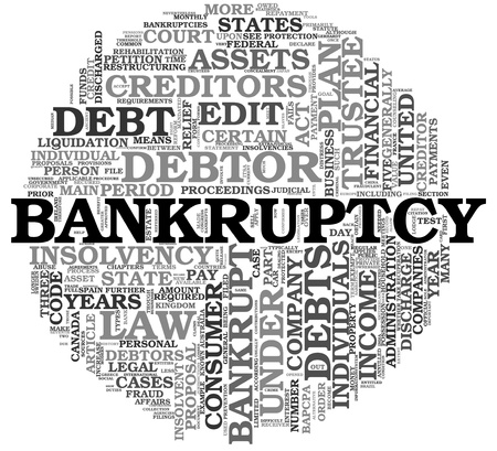 Bankruptcy concept in word tag cloud on white background photo