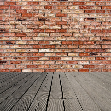 Background of brick wall and wooden planks in old interior photo