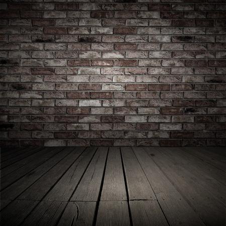 brique: Backgroud du mur de briques et de planches de bois � l'int�rieur ancienne Banque d'images