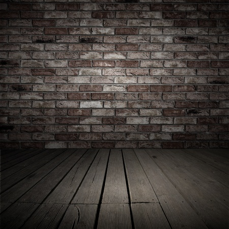 Backgroud of brick wall and wood planks in old inter Stock Photo - 11362494