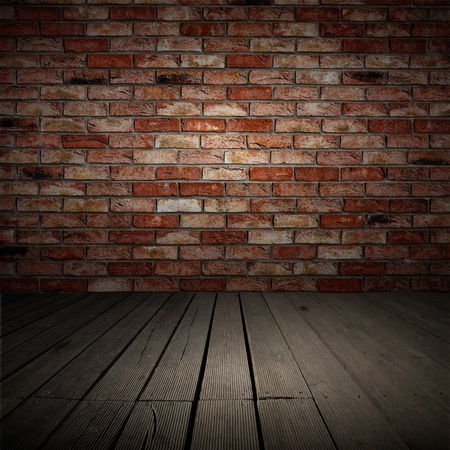 Backgroud of brick wall and wood planks in old interior Stock Photo