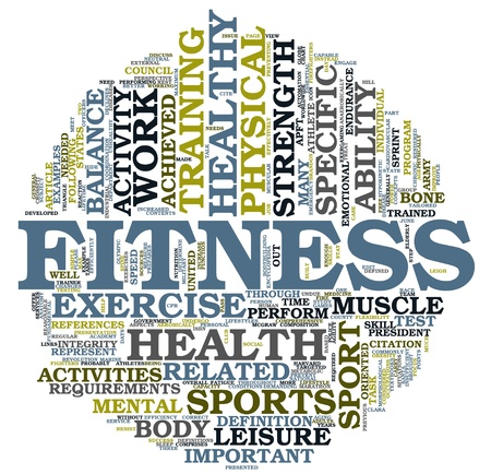 Fitness and health concept in word tag cloud on white background photo
