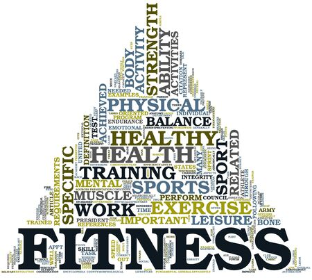 physical training: Fitness and health concept in word tag cloud on white background
