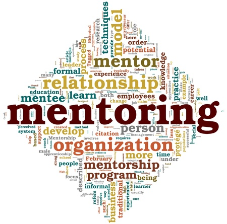 Mentoring related words concept in tag cloud on white photo