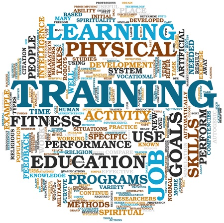 computer training: Training end education related words concept in tag cloud Stock Photo