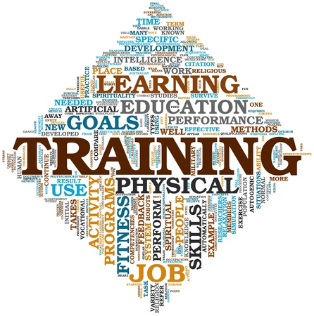 Training end education related words concept in tag cloud Stock Photo