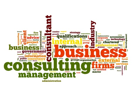 Business consulting concept in word tag cloud on white background photo