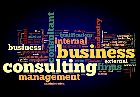Business consulting begrip in woord tag cloud op zwarte achtergrond Stockfoto