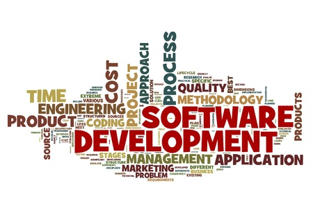 Software development concept in tag cloud on white background photo