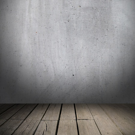 Background of concrete wall and wooden planks in old interior photo