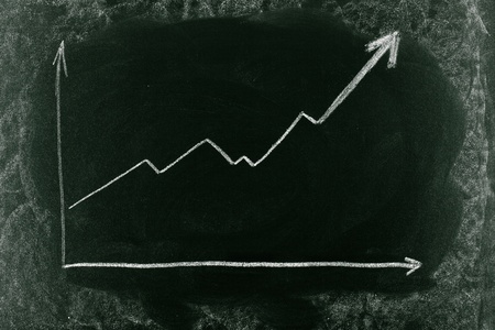 increase sales: Business chart on blackboard showing increase in sales Stock Photo