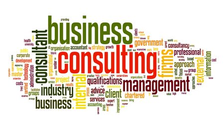 Business consulting begrip in woord tag cloud op een witte achtergrond