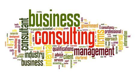 Concepto de negocio de consultoría en la nube de palabra de la etiqueta en el fondo blanco