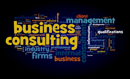 consult: Business consulting concept in word tag cloud on black background