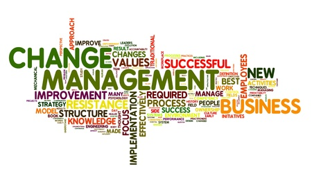 Change management concept in word cloug on white photo