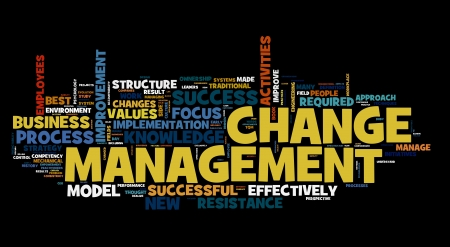 Change management concept in word cloug on black Stock Photo - 11596147