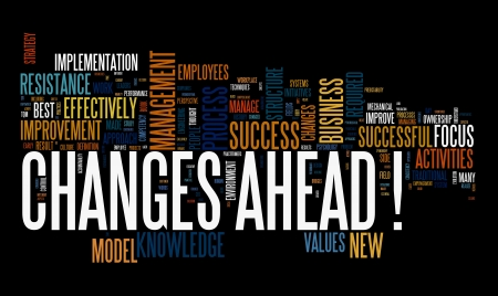business change: Changes ahead concept in word cloug on black background Stock Photo